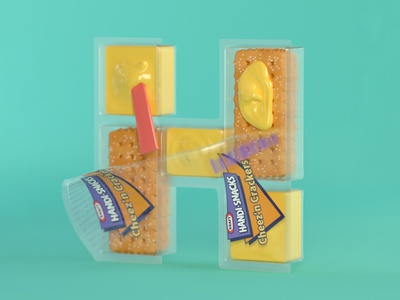 H is for Handi-Snacks retro 90s snacks snacks cheese crackers nostalgia childhood food 3d illustration 90s c4d 3d typography 36daysoftype 3d type cinema 4d 3d typography lettering
