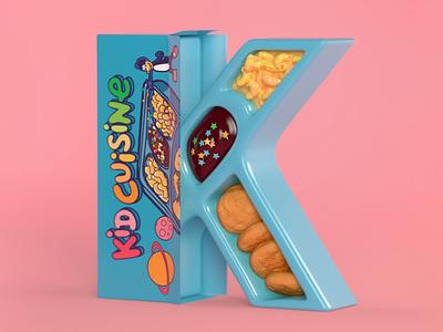 K is for Kid Cuisine childhood nostalgia 90s food food 90s 90s nibbles 3d type c4d 36daysoftype cinema 4d 3d typography lettering kid cuisine