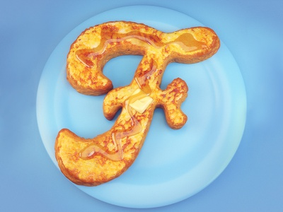 F is for French Toast 36daysoftype 3d advertising editorial food fruit lettering type typography french toast breakfast waffle