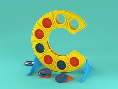 C is for Connect Four toys board games nostalgia 90s retro design illustration handlettering c4d cinema 4d editorial advertising 36daysoftype typography 3d lettering