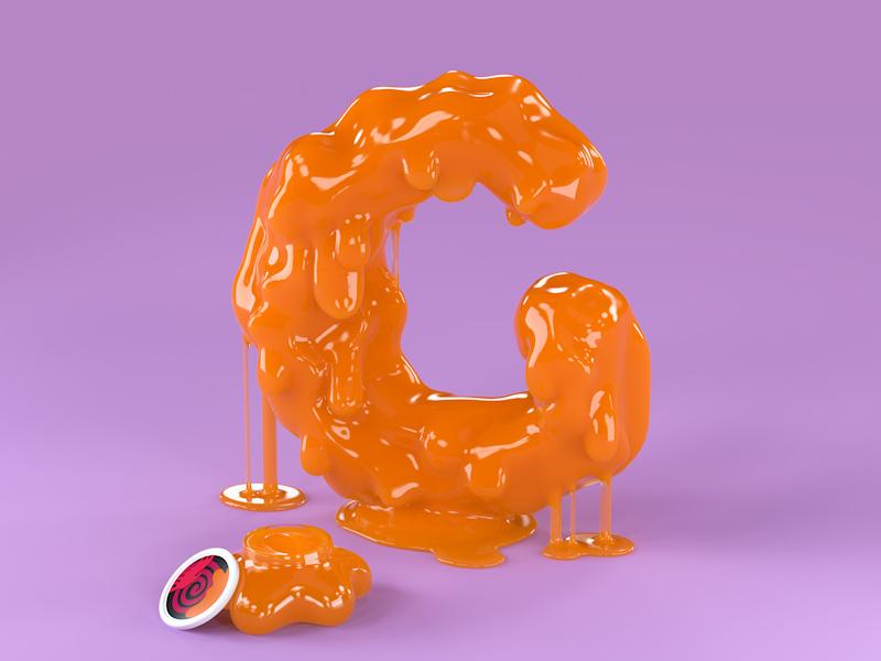 G is for Gak 3d art 3d illustration 36daysoftype advertising design graphic design octane render cinema 4d nostalgic 80s 90s toypography 90s typography 3d type lettering gooey letters gooey slime nickelodeon nickelodeon gak gak