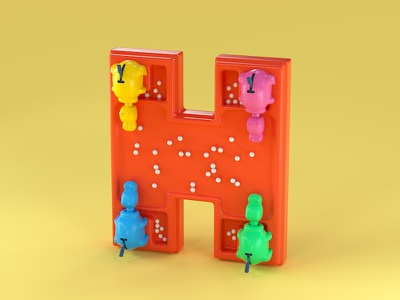 H is for Hungry Hungry Hippos noahcamp 3d illustration cute character character design c4d cinema 4d toy art toy toys childhood toys nostalgia board games hasbro hungry hungry hippos h letter h 3d type