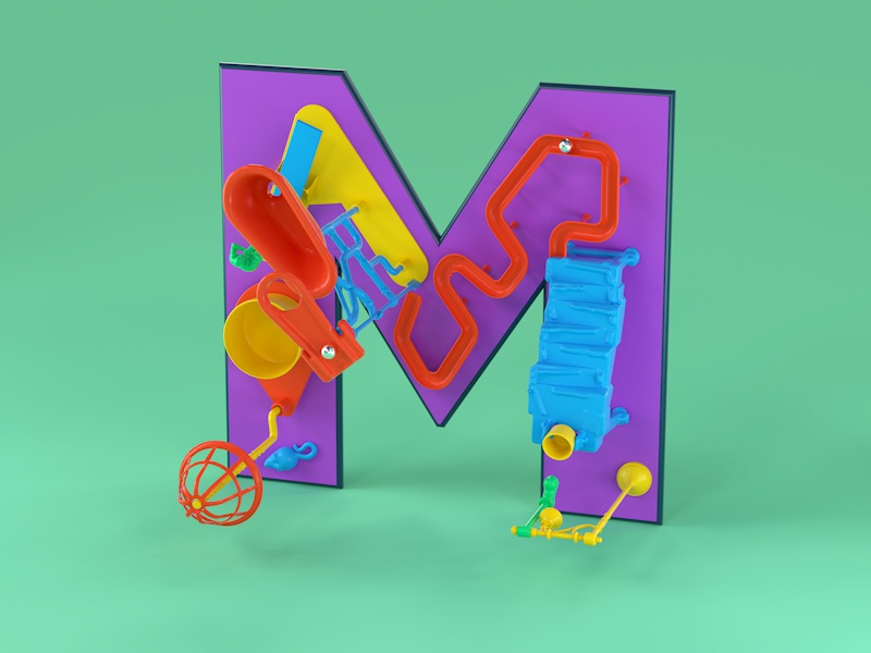 M is for Mouse Trap toy design mechanicaltoys rube goldberg plastic toys mouse trap nostalgic 80s design retro 90s 3d type c4d cinema 4d editorial advertising 36daysoftype typography 3d lettering