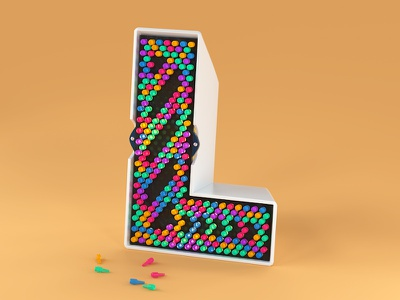 L is for Lite Brite toy design kids plastic cute 3d type illustration editorial advertising c4d cinema 4d typography 3d lettering 36daysoftype06 36daysoftype retro toy lite brite 3d letter l letter l