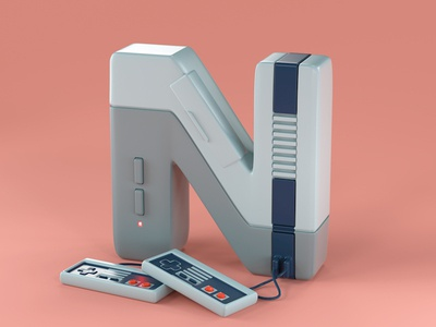N is for Nintendo art toy design illustration 3d type type c4d cinema 4d editorial advertising 36daysoftype typography 3d lettering 80s 90s video games gaming retro nes nintendo