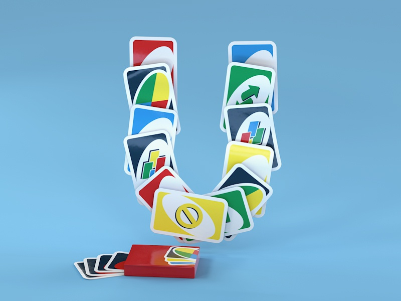 U is for Uno uno game nostalgia 90s cards 36 days of type childhood toys kids illustration vintage retro type design typography lettering octane render cinema 4d cgi art direction 3d illustration 3d typography 3d type