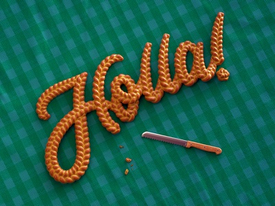 Holla for Challah cinema 4d realistic photorealistic picnic editorial art direction play on words humor punny lettering food typography 3d typography digital art 3d art octane render 3d render typography 3d type holla challah