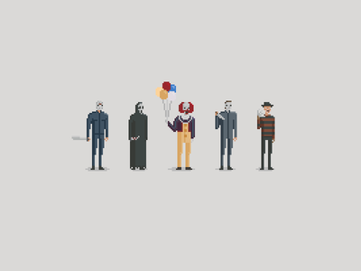 What's Your Favourite Scary Movie? pixel art jason vorhees friday the 13th scream pennywise it michael myers halloween freddy krueger nightmare on elm street movies horror