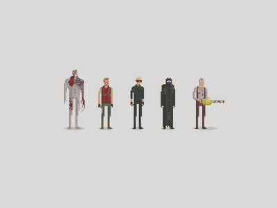 Evil Residents pixel art resident evil video games tyrant barry albert wesker merchant dr. salvador chainsaw