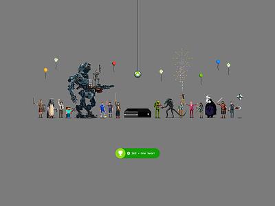 Xbox Year One pixel art video games halo alien titanfall minecraft xbox