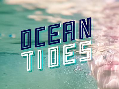 Ocean Tides bubbles surfer retro underwater waves surf tides ocean typography