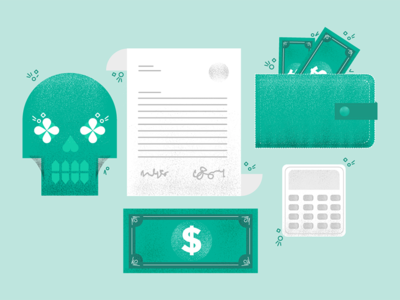 Death, Savings and the Tax Man flat duotone illustration texture grunge calculator design vector financials skull death