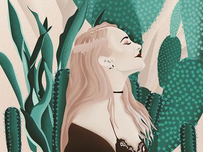 """Take me to Joshua Tree"" texture graphic girl portrait art vector plants illustration cactus desert joshua tree"