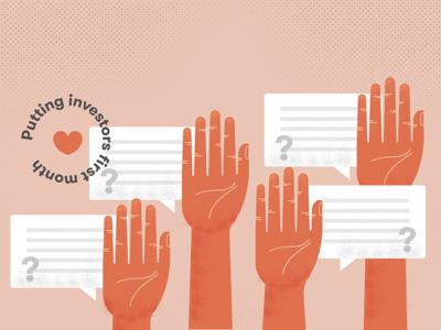 Putting Investors First - WealthBar hand texture vector illustration heart chat questions hands