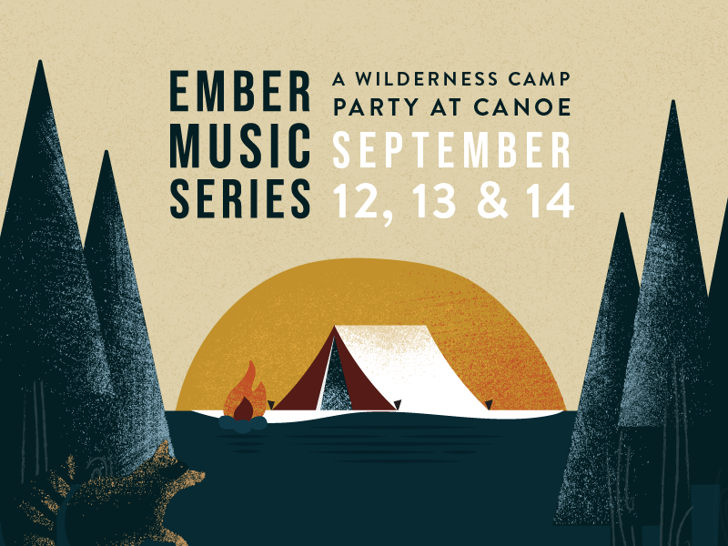 Ember Music Series illustrator event music raccoon tent trees texture pnw rustic forest camp illustration