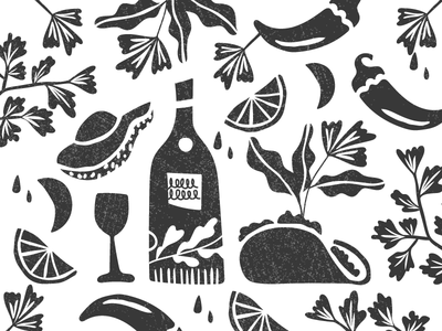 Tequila & Tacos - Illustration linocut poster jalepeno limes avocado plants mexican vector texture illustration tacos tequila