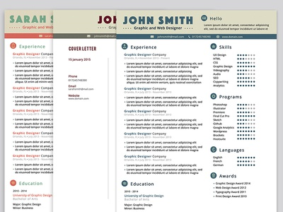 Resume & Cover Letter in 3 Colors - FREEBIE
