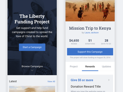 Liberty Funding Project ui crowdfunding mobile kickstarter