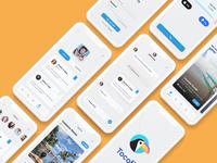 Travel App UI Design - 03 chat sketch xd travel app blue flat design flat user interface ui design product design ux concept app design logo ios ui adobe xd minimal figma design