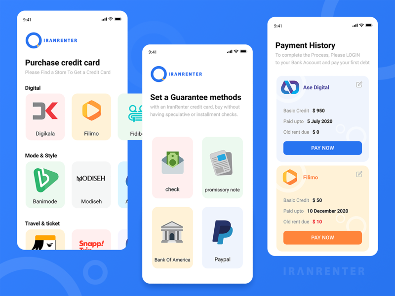 IranRenter - Mobile app brand credit card payment app paypal minimalist interface ui design rent payment sketch flat product design apple ios adobe xd minimal concept ui figma design