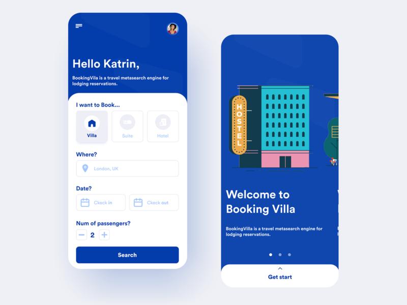 BookingVila - Booking Mobile app brand interface reservation reserve rent startup business app ux book booking app booking flat app design adobe xd minimal concept ui figma design