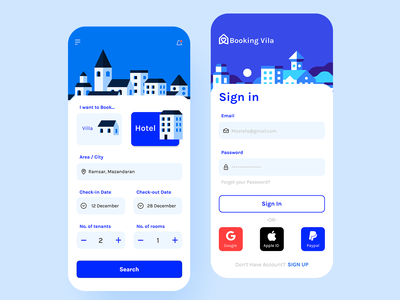 BookingVila - Booking / Sign in Page airbnb hotel villa search location sign up sign in rent booking.com booking app booking ux app flat adobe xd minimal concept ui figma design