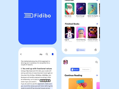 Fidibo - E Book Store UI 02 illustration business podcast book design library blue adobe xd minimal concept ui figma design 3d illustration book art reading app reading e book book shop book store book