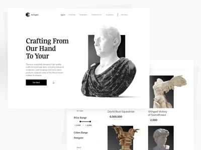 🗿 Online Sculpture & handcraft Shop | ECommerce logo web design website webdesign online shop shopping shop ecommerce design ecommerce app ux handmade hand craft sculpture illustration minimal concept ui figma design