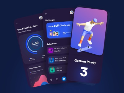 🏃‍♂️ Fitness | Running App UI Conceptual Design | Dark Mode fitness club night mode dark mode contact challenge runner run running app running sport club fitness app fitness 3d ilustration minimal illustration concept design ui figma