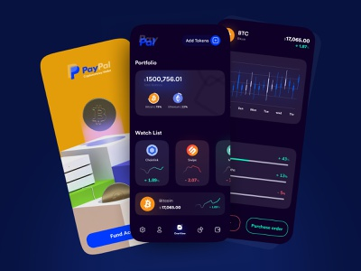 🪙 PayPal Crypto Currency | Bitcoin Wallet | Dark Mode UI Design night mode dark mode stock exchange stock market finance app financial finance fintech wallet payment app payment paypal bitcoin ethereum crypto currency crypto wallet cryptocurrency minimal ui figma