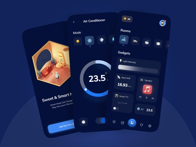 🛋 Smart Home Automation Dark mode UI Design dark ui night mode dark theme dark mode super app minimal ui internet of things home automation home smart home smarthome animoji emoji 3d illustration illustration daily ui concept figma iot