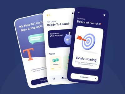 Language Learning App Concept UI Design 🇫🇷|🇬🇧 night mode dark mode c4d 3d illustration duolingo online learning busuu language language learning learning app learning language app daily ui case study illustration ui concept minimal branding figma