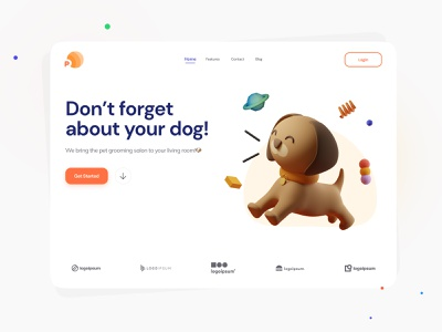 🐶 Pet-Planet Clinic Landing Page vet puppy daily ui cats dogs logo clinic dog cat illustration c4d 3d illustration concept minimal petshop pet care pets pet ui figma