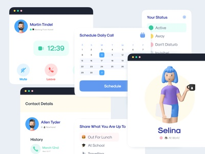 🤙 Video Call Elements Design live stream component telegram microsoft face time whatsapp 3d illustration conference video conference livestream live meetup concept figma online meeting call zoom video calling video call skype