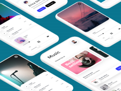 Music player UI ux ui kit music player player minimal iphone ios flat figma dribbble design concept application apple app design app android adobe xd music