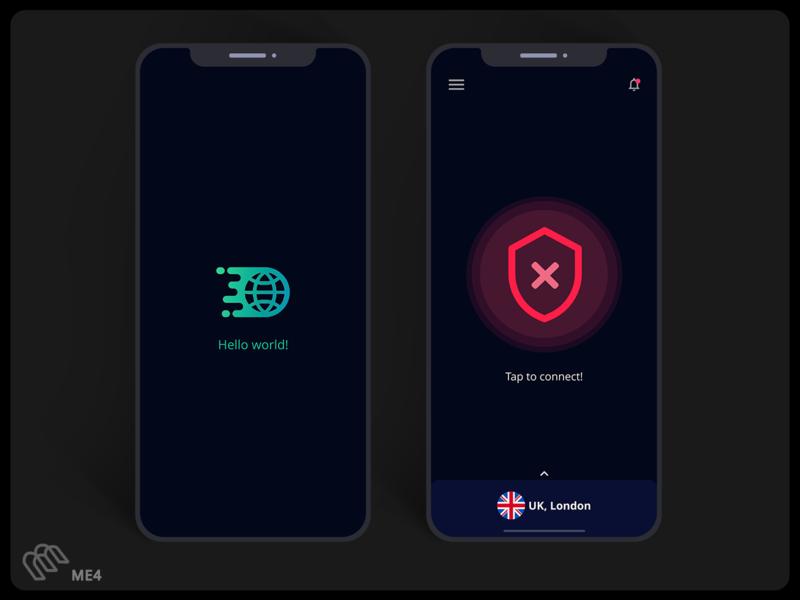 VPN App UI Design adobe xd minimal concept figma app design logo apple vpn app ui design