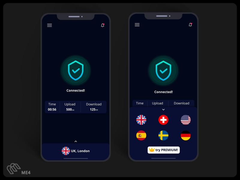 Connected - VPN App UI Design ux figma adobe xd minimal concept apple app design app ui design