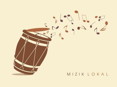 Mizik Lokal illustration design musique notes sound drum island local flat brown ka gwoka