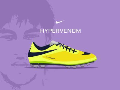 Dribbble Nike Hypervenom soccerboot football flatdesign illustration neymar nike worldcup graphicdesign