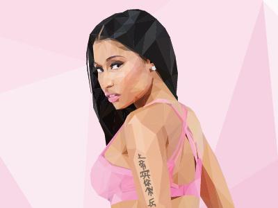Nicki Minaj Low Poly graphicdesign illustrate nickiminaj pink illustration polygons triangles lowpoly