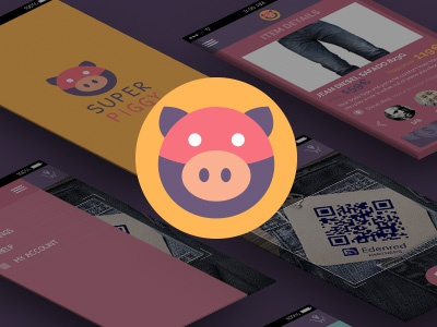 Super Piggy Dribbble Small moneyapp colorfull illustration icon pig visualdesign web ux design ui app mobile