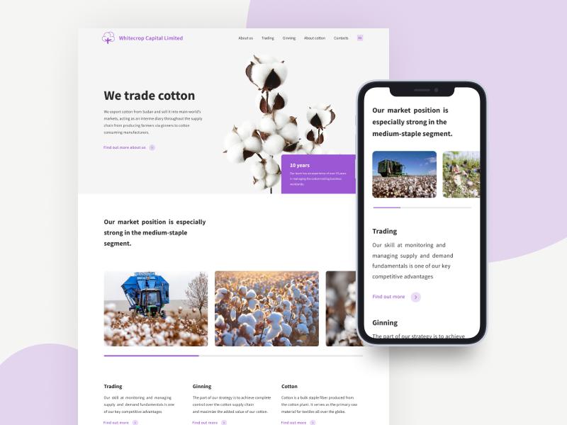 Whitecrop - main page agency merchant cotton adaptive design website ux ui design typography
