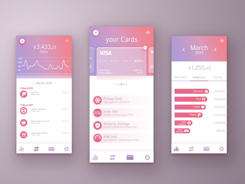 Online Banking credit card ui design online banking flat ux pink bank app banking app banking app ui userinterfacedesign design