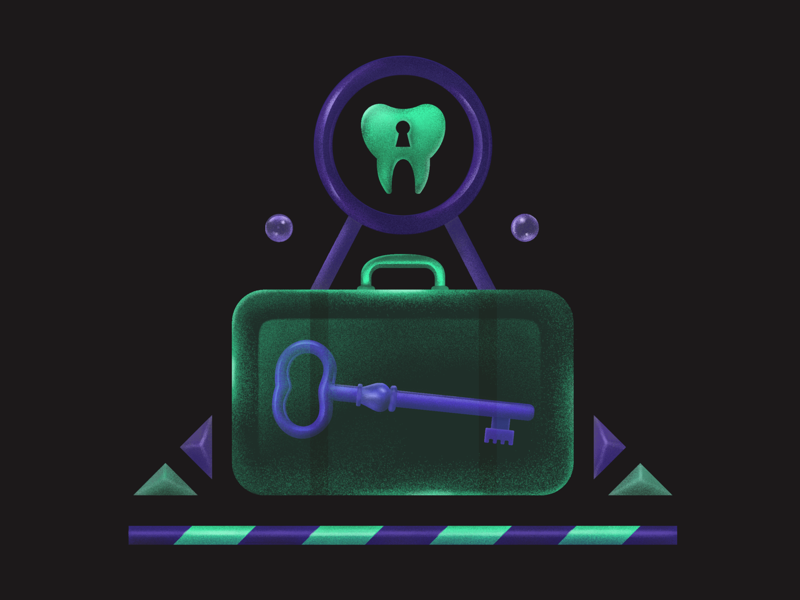 Address to the toothache 🦷 bag luggage key teeth tootache tooth grain gradient design digitalart colorful vector illustration