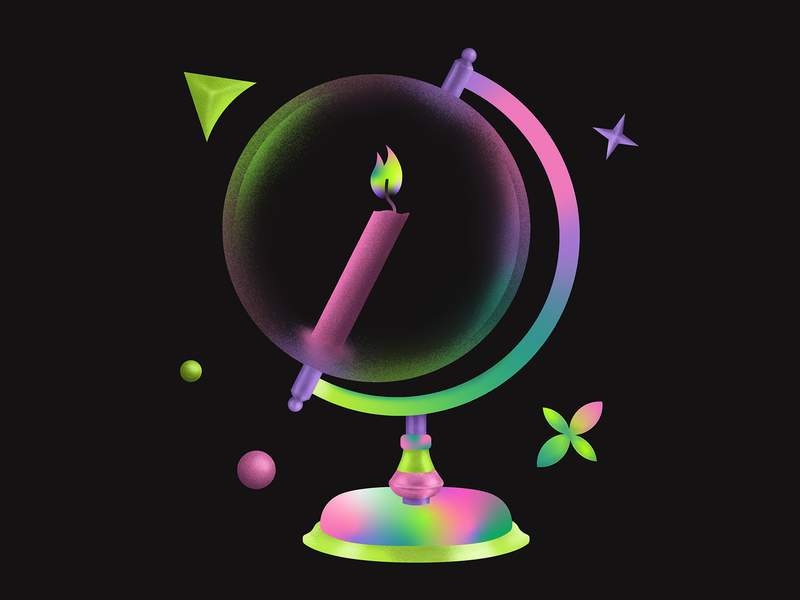 Distant Wishes 🕯 transparency digital illustration digital colorful grain gradient aiga itsnicethat fire candle globe digitalart vector illustration