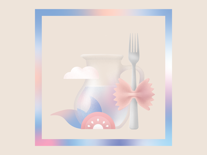 Lunch 🍝 contemporary illustration contemporary photoshop digital juice cloud meal food lunch tomato jug fork pasta grain gradient colorful digitalart vector illustration