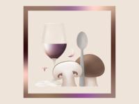Dinner 🍽️ shrooms shroom wine spoon dinner contemporary digital illustration grain gradient colorful digitalart vector illustration