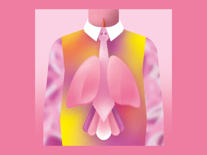 Breathe Deeper 🌬️ tie bird lungs album cover tame impala grain gradient colorful digitalart vector illustration