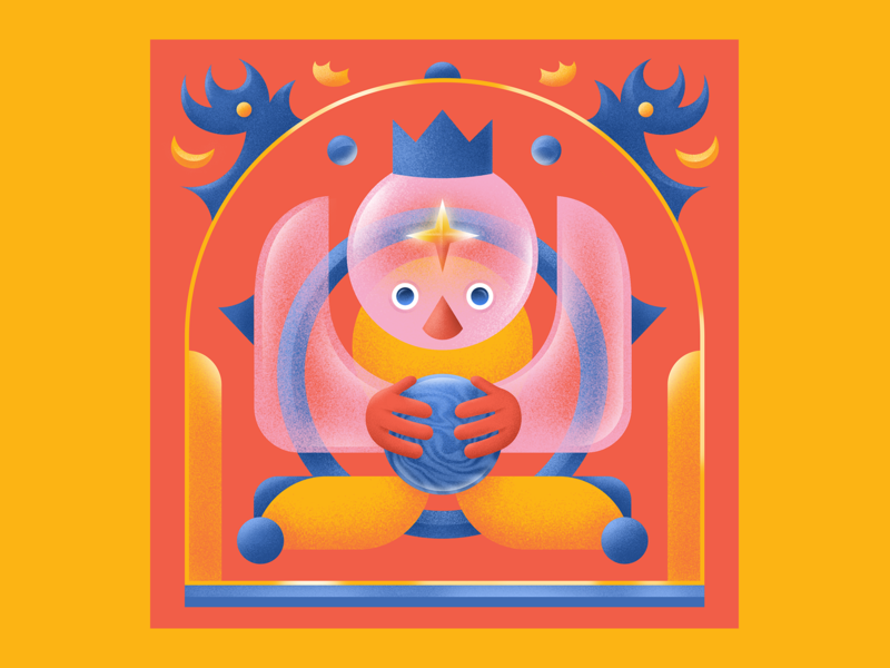 Clairvoyance 🔮 magic star crystal ball seer clairvoyance digital eye texture design grain gradient colorful digitalart vector illustration