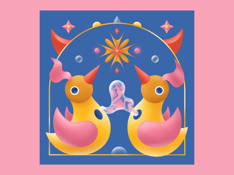Chirp 🐦 digital illustration texture grain colorful digitalart vector illustration chirping chirp animal illustration animals bird illustration bird